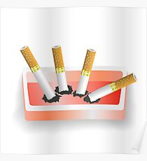 ashtray and cigarettes Poster