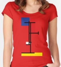 Mondrian Minimalist De Stijl Modern Art III Women's Fitted Scoop T-Shirt