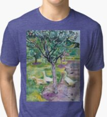Edvard Munch - Geese In An Orchard Tri-blend T-Shirt