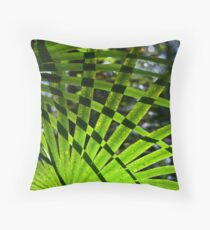 Crosshatched Palm Leaves Throw Pillow