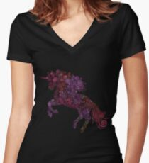 Psychedelic Unicorn Women's Fitted V-Neck T-Shirt