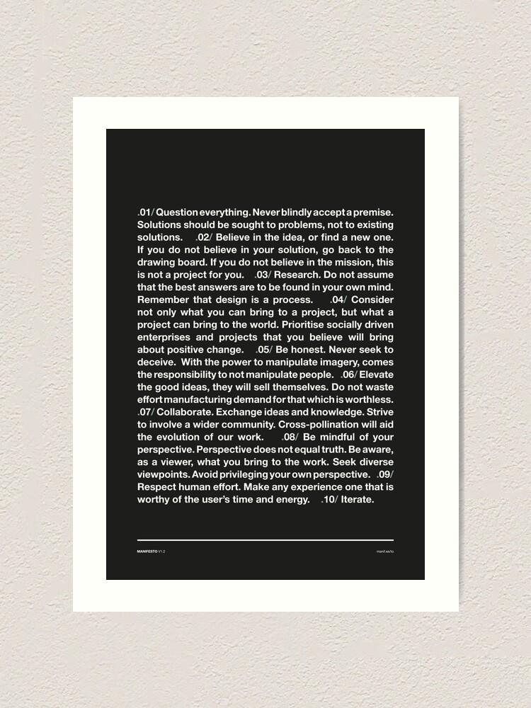 Alternate view of Manifesto - Grey Art Print