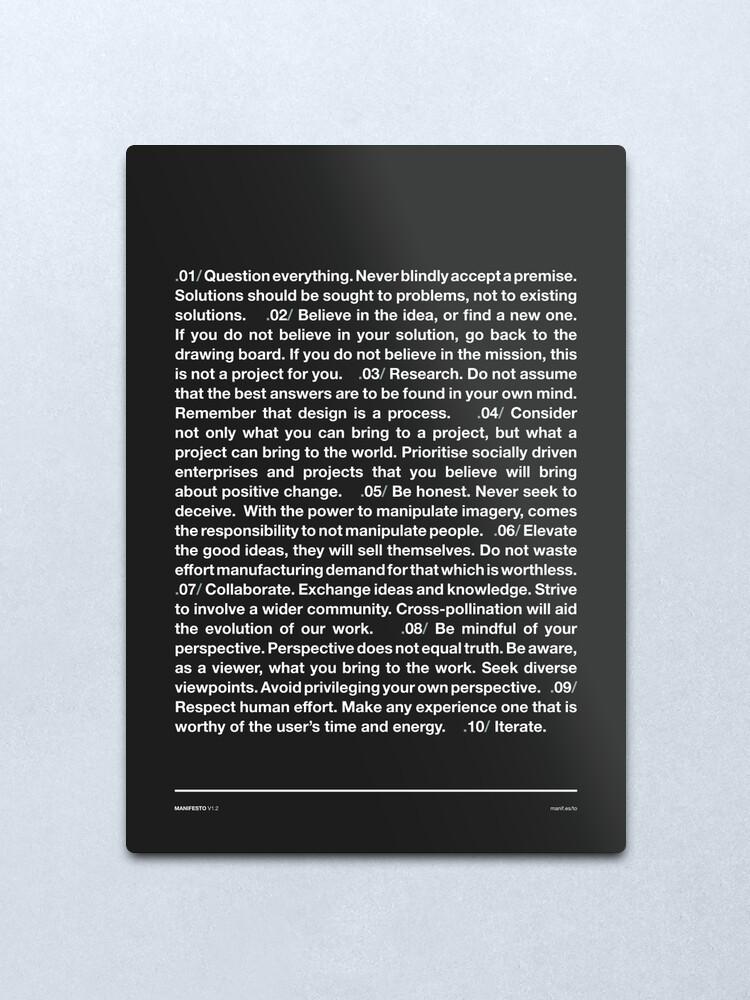Alternate view of Manifesto - Grey Metal Print