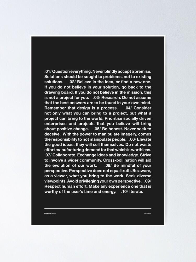 Alternate view of Manifesto - Grey Poster