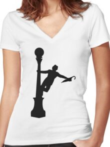 Singing in the Rain Silhouette  Women's Fitted V-Neck T-Shirt