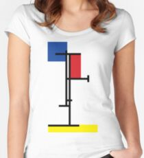 Mondrian Minimalist De Stijl Modern Art II Women's Fitted Scoop T-Shirt