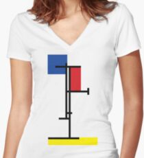 Mondrian Minimalist De Stijl Modern Art II Women's Fitted V-Neck T-Shirt