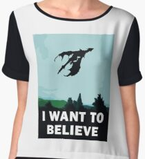 I Want To Believe... In Dragons  Women's Chiffon Top