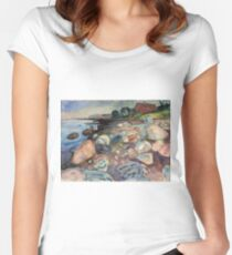 Edvard Munch - Shore With Red House Women's Fitted Scoop T-Shirt
