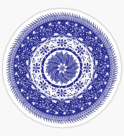 Blue and White Mandala  Sticker
