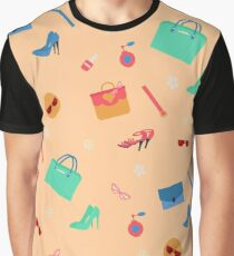 Womens Fashion Seamless Pattern with Accessories, Clothing and Cosmetics Graphic T-Shirt