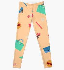 Womens Fashion Seamless Pattern with Accessories, Clothing and Cosmetics Leggings