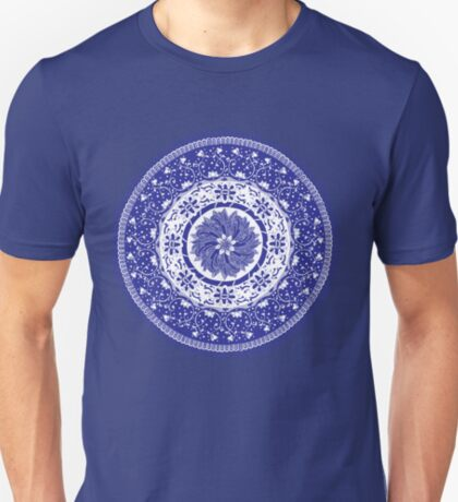 Blue and White Mandala  T-Shirt