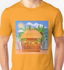 Tropical Vacation Banner with Beach Bar and Palm Trees T-Shirt