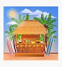Tropical Vacation Banner with Beach Bar and Palm Trees Photographic Print