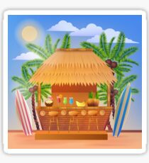 Tropical Vacation Banner with Beach Bar and Palm Trees Sticker