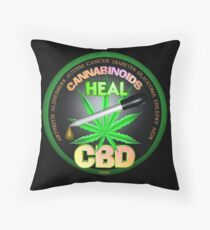 CBD Cannabinoids in Hemp oil Cures  learn truth about use of hemp oil to cure illness and pains. Throw Pillow