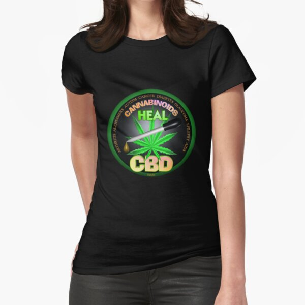 CBD Cannabinoids in Hemp oil Cures  learn truth about use of hemp oil to cure illness and pains. Fitted T-Shirt