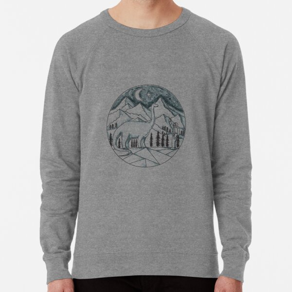 Brontosaurus Astronaut Mountains Tattoo Lightweight Sweatshirt