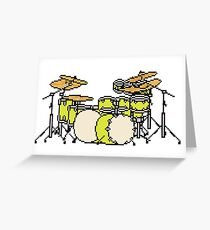 Pixel Yellow Glo Drums Greeting Card