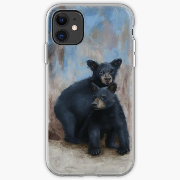 Two Playful Black Bear Cubs iPhone Soft Case