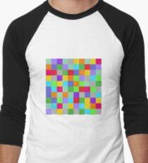 Multi Color Squares Men's Baseball ¾ T-Shirt