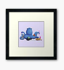 Octopus with Kitty Cats Framed Print