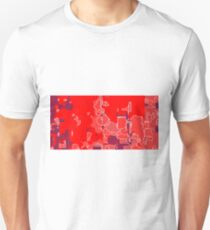 graffiti drawing and painting abstract in red and blue T-Shirt