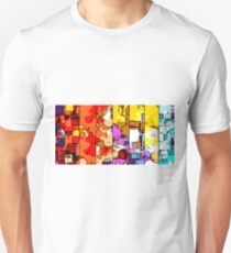 psychedelic geometric graffiti drawing and painting in orange pink red yellow blue brown purple and yellow T-Shirt
