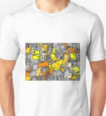 psychedelic graffiti drawing and painting in yellow and orange T-Shirt