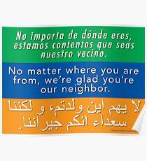 Welcome Your Neighbors: Spanish - English - Arabic Poster