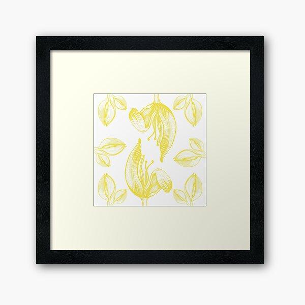 tulip line pattern yellow Framed Art Print