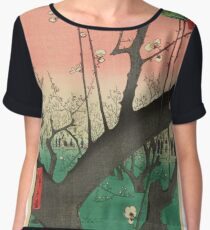 Japanese Art - One Hundred Views of Edo 30 - Plum Garden Kameido (1857) Women's Chiffon Top