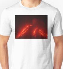 Night eruption volcano Klyuchevskaya Sopka in Kamchatka Peninsula Unisex T-Shirt