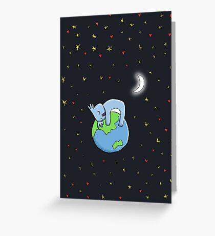 Cute Koala Hugging Earth at Night Illustration Greeting Card