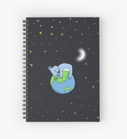 Cute Koala Hugging Earth at Night Illustration Spiral Notebook