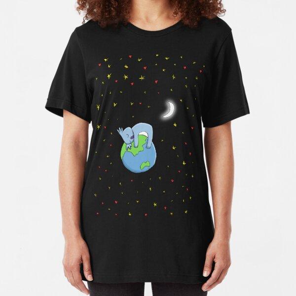 Cute Koala Hugging Earth at Night Illustration Slim Fit T-Shirt