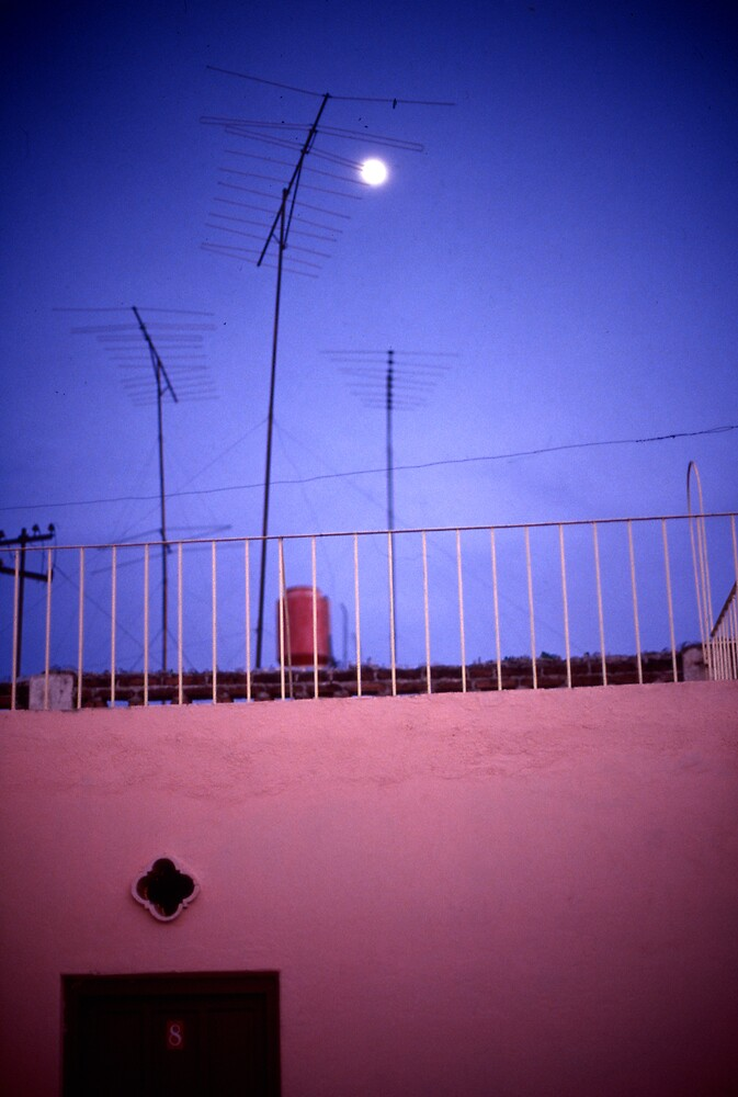 Moonlit rooftop, Mexico by laurencedodd