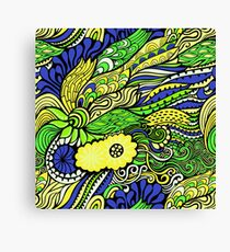 Bright Floral Abstract in Green Canvas Print