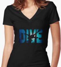 Scuba Diving t-Shirt ~Diver in The Deep Water Women's Fitted V-Neck T-Shirt