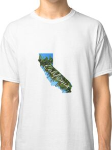 California State Outline with Palms Classic T-Shirt