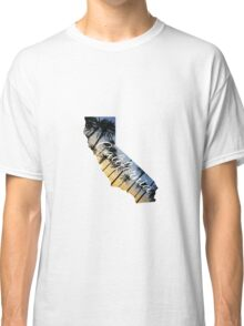 California State Outline with Palms at Sunset Classic T-Shirt