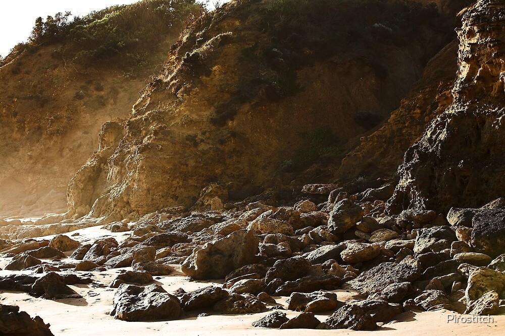 Seaspray rocky shore by Pirostitch