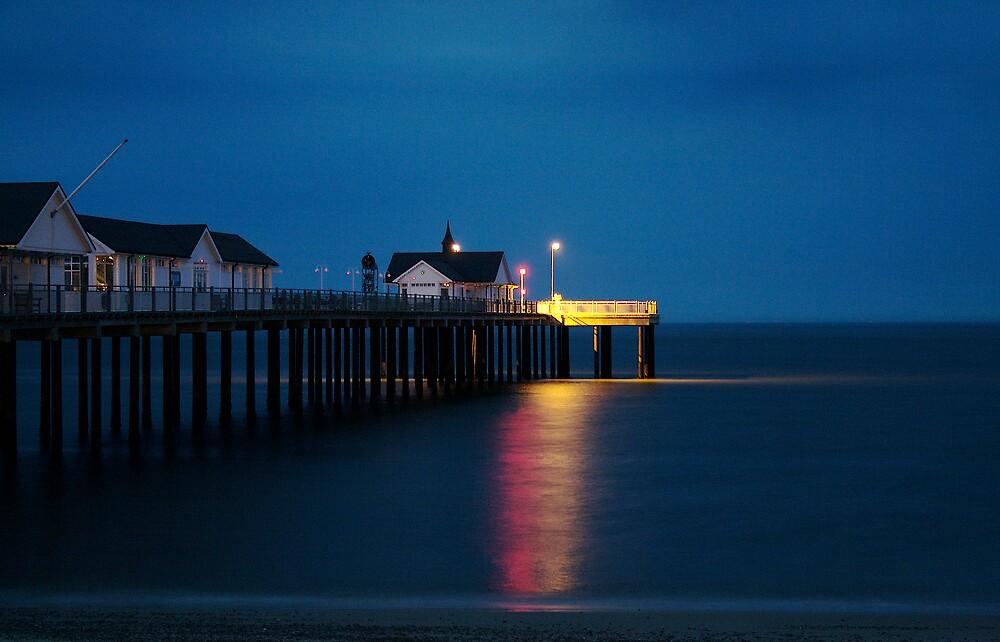 Late night beach pier. by Nick Smith