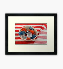 Red, white and blue patriotic ice cubes Framed Print