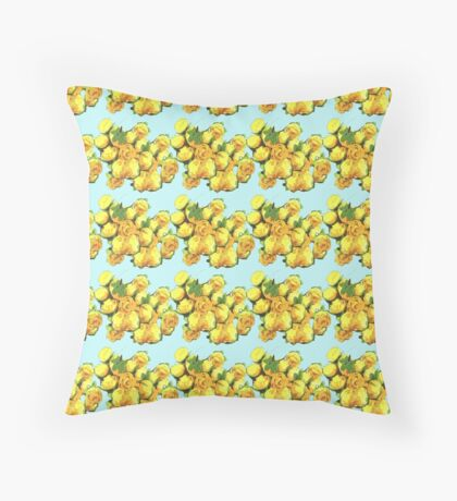 Yellow rose pattern Throw Pillow