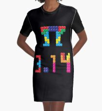 Pi Block Puzzle Video Game Math Pi Day T-Shirt Graphic T-Shirt Dress