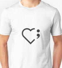 Semicolon; Heart (Black) (Light) Unisex T-Shirt