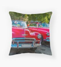Vintage cars in a street, in Old Havana, Cuba. Throw Pillow