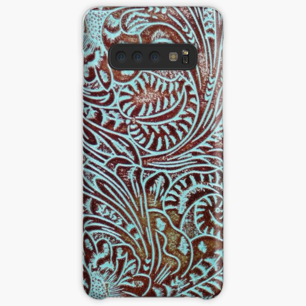 Aqua Brown Tooled Leather Pattern Samsung Galaxy Snap Case